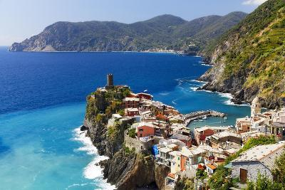 Coastal Town On A Cliff, Vernazza, Italy-George Oze-Photographic Print