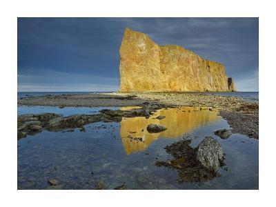 Coastline and Perce Rock, a limestone formation, Quebec, Canada-Tim Fitzharris-Art Print