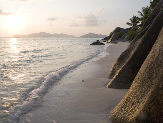 Coastline at Sunset, La Digue Island-Holger Leue-Photographic Print