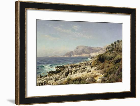 Coastline Near Monte Carlo, 1907-Peder Moensted-Framed Giclee Print