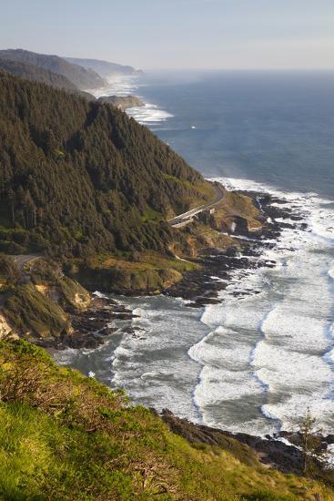 Coastline View from Overlook, Cape Perpetua Scenic Area, Oregon, USA-Jamie & Judy Wild-Photographic Print