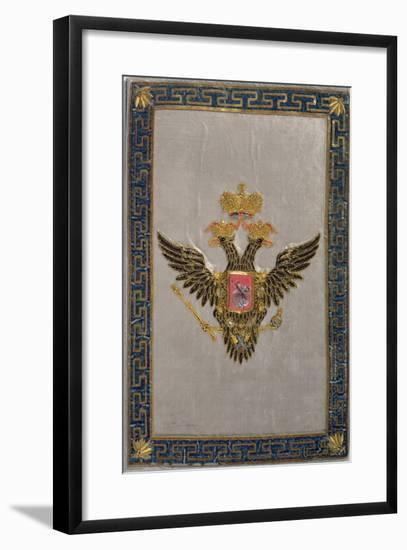 Coat of Arms from the Back Cover of 'The Russian Imperial Family', 1798 (Embroidered Silk)-Russian-Framed Giclee Print