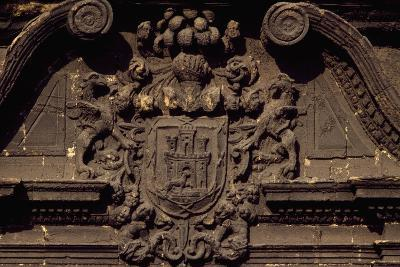 Coat of Arms on Building Overlooking Piazza to Alfonso II, Oviedo, Asturias, Spain--Giclee Print