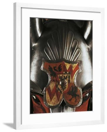 Coat of Arms on Front Horse Head Armor, Detail from Horse and Knight Armor, 1535--Framed Giclee Print