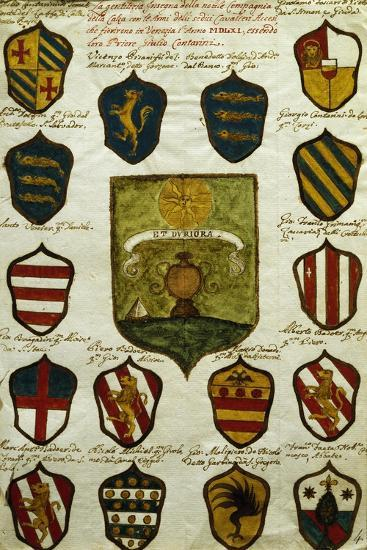 Coats of Arms for Noble Venetian Families Belonging to Brotherhood of Calza--Giclee Print