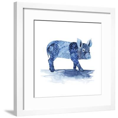 Cobalt Farm Animals II-Grace Popp-Framed Art Print