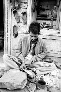 Cobbler Making Shoes, Jaisalmer, Rajasthan, India, 1984