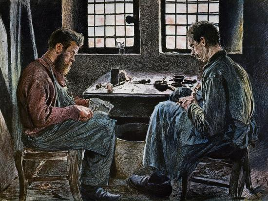Cobblers at Work, Lithograph, Belgium, 19th Century--Giclee Print