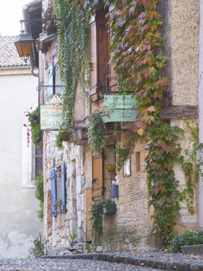 Cobblestone Street with Half Timber Stone Houses, Place De La Myrpe, Bergerac, Dordogne, France-Per Karlsson-Photographic Print