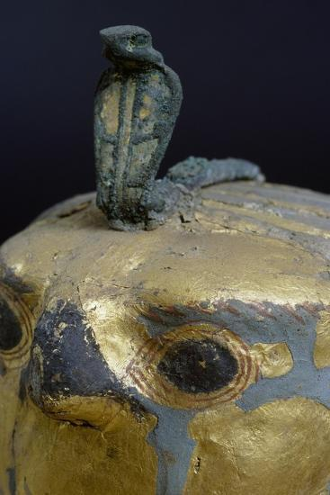 Cobra, Canopic Jar of Psusennes I in Alabaster and Gold Leaf Surmounted by a Falcon's Head--Giclee Print