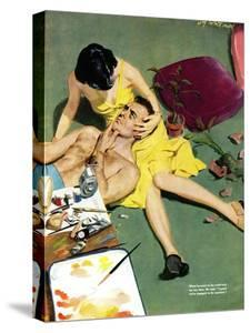 """Marriageable Man  - Saturday Evening Post """"Leading Ladies"""", March 12, 1949 pg.23 by Coby Whitmore"""
