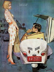 """The Casanova Car - Saturday Evening Post """"Leading Ladies"""", September 5, 1959 pg.34 by Coby Whitmore"""