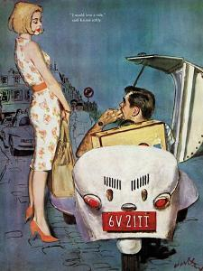 "The Casanova Car - Saturday Evening Post ""Leading Ladies"", September 5, 1959 pg.34 by Coby Whitmore"