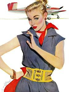 "The Girl Who Stole Airplanes  - Saturday Evening Post ""Leading Ladies"", December 6, 1952 pg.24 by Coby Whitmore"