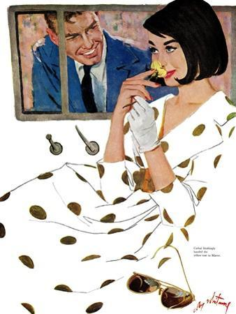 """The Golden Rose - Saturday Evening Post """"Leading Ladies"""", October 24, 1959 pg.23 by Coby Whitmore"""