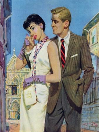 """The Lady Had an Angle  - Saturday Evening Post """"Leading Ladies"""", August 20, 1955 pg.21 by Coby Whitmore"""
