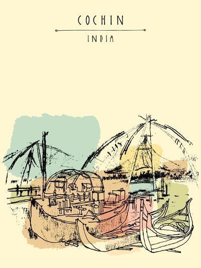 Cochin, Kerala, India. Wooden Boats and Chinese Fishing Nets on Vembanad Lake. Travel Sketchy Freeh-babayuka-Art Print