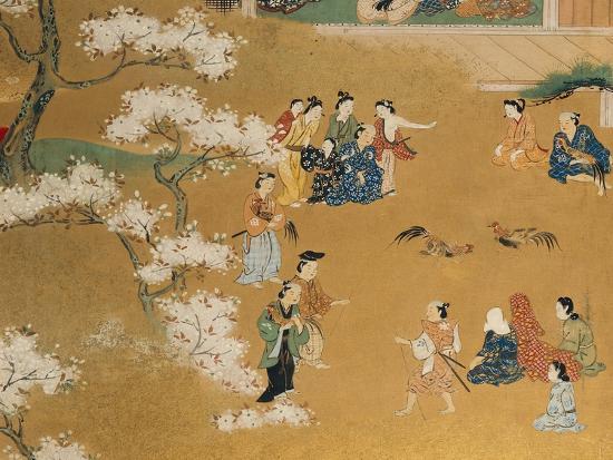 Cock Fight Beneath Cherry Tree Blossoms, 18th Century--Giclee Print