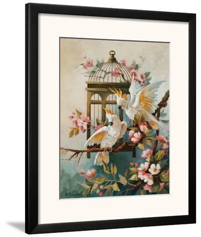 Cockatoo and Blossoms-Maxine Johnston-Framed Art Print