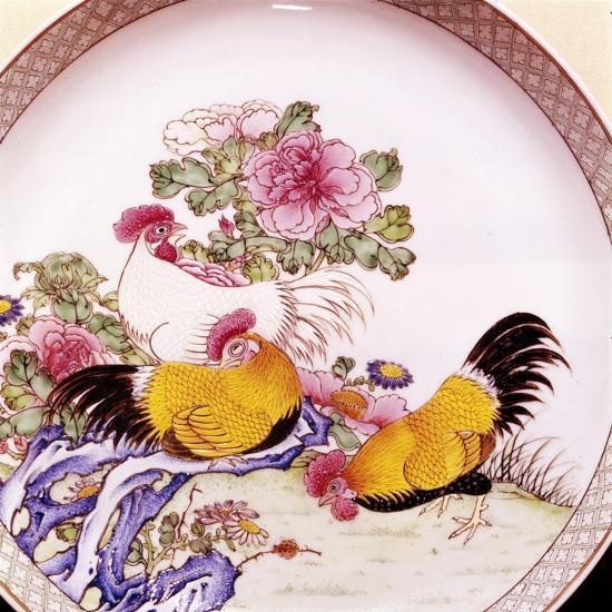 Cockerels, Famille Rose Enamel Porcelain Plate, Ch'Ieh Lung, 1736-1795-Unknown-Giclee Print