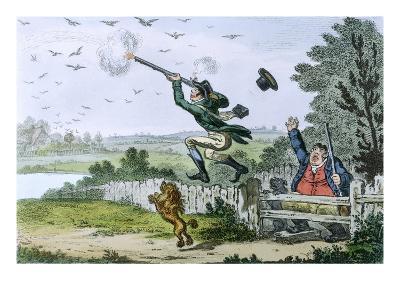 Cockney Sportsmen: Shooting Flying, Engraved by James Gillray (1757-1815) 1800-Isaac Cruikshank-Giclee Print