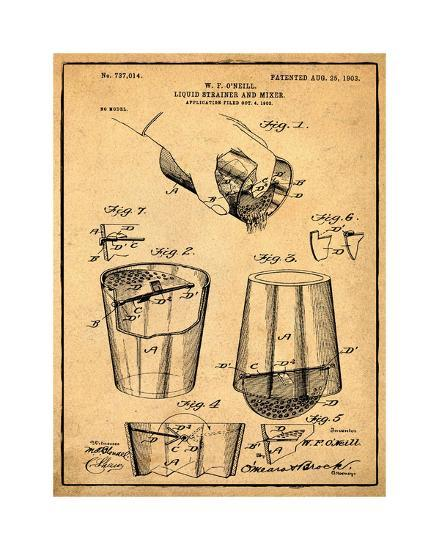 Cocktail Mixer 1903 Sepia-Bill Cannon-Giclee Print