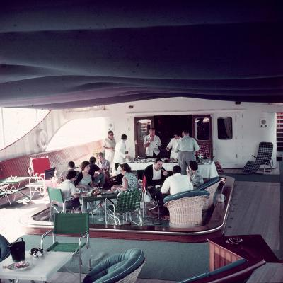 Cocktail Party on Deck of Famous Yacht 'Christina O' Owned by Shipping Magnate Aristotle Onassis-Dmitri Kessel-Photographic Print