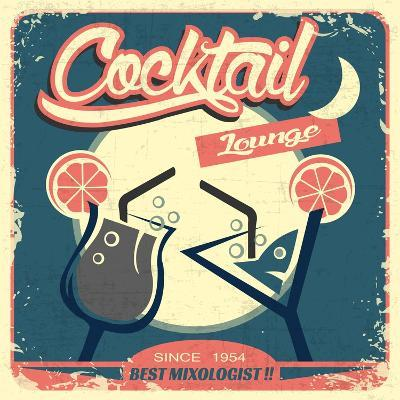 Cocktail Retro Poster-Ayeshstockphoto-Art Print
