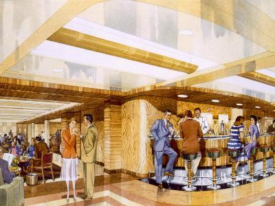 Cocktails Aboard the RMS Caronia, from a Promotional Brochure, 1947--Giclee Print