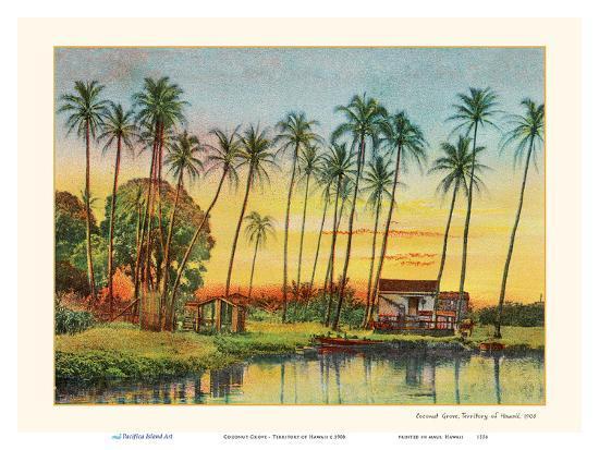 Coconut Grove - Territory of Hawaii-Unknown-Art Print