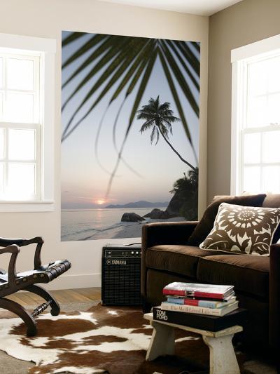 Coconut Tree Sunset Silhouette at Pte. Source D'Argent-Holger Leue-Giant Art Print