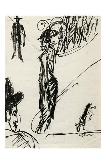 Cocotte with Dog-Ernst Ludwig Kirchner-Art Print
