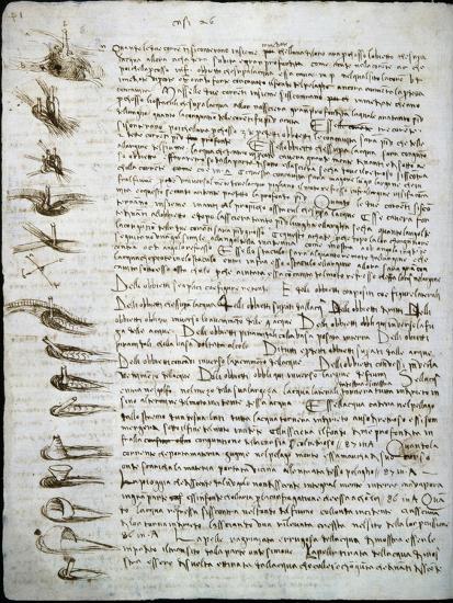 Codex Leicester: Water Flow-Leonardo da Vinci-Giclee Print
