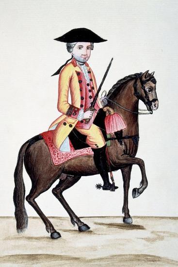 Codice Trujillo Del Perú. T.I. Personaje a Caballo, Palacio Real, Madrid-Baltasar Jaime Martínez Compañón-Giclee Print