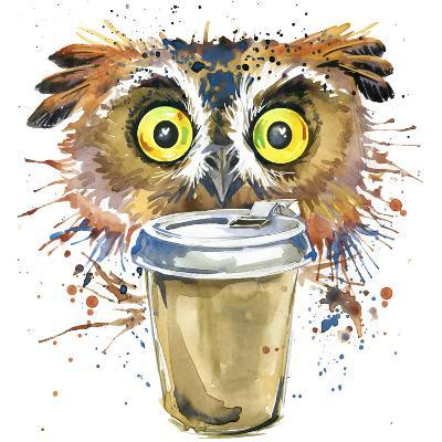 Coffee and Owl T-Shirt Graphics. Coffee and Owl Illustration with Splash Watercolor Textured Backgr-Dabrynina Alena-Art Print