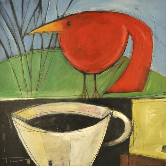 Coffee and Red Bird-Tim Nyberg-Premium Giclee Print