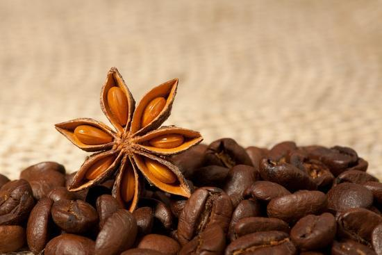 Coffee And Star Anise On Sackcloth Background With Copyspace-wasja-Photographic Print