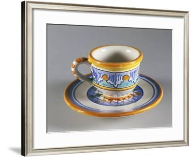 Coffee Cup Decorated with Light Blue Palmettes--Framed Giclee Print