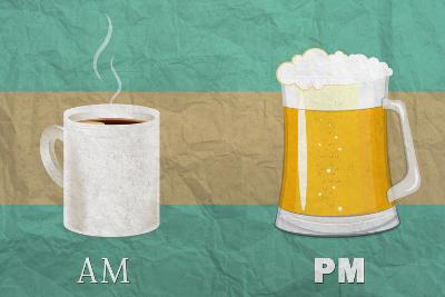 Coffee in the AM, Beer in the PM-Lantern Press-Art Print