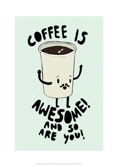 Coffee Is Awesome - Tom Cronin Doodles Cartoon Print-Tom Cronin-Giclee Print