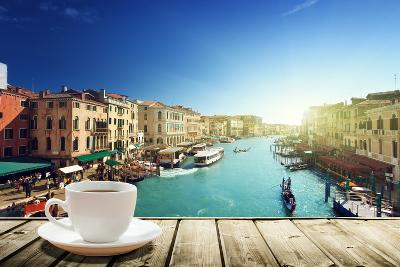Coffee on Table and Venice in Sunset Time, Italy-Iakov Kalinin-Photographic Print
