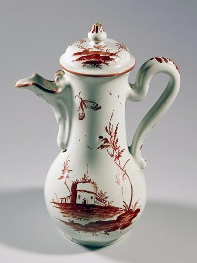 Coffee Pot Decorated with Landscape and Insects, Majolica--Giclee Print