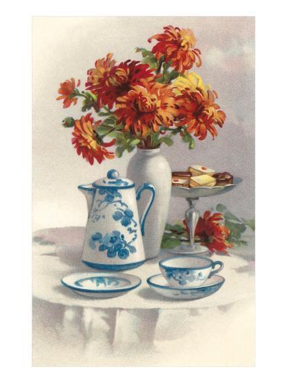 Coffee Pot with Chyrsanthemums--Art Print