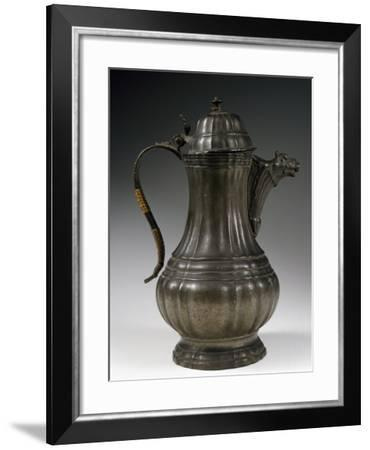 Coffee Pot with Vertical Ribbing, Pewter--Framed Giclee Print