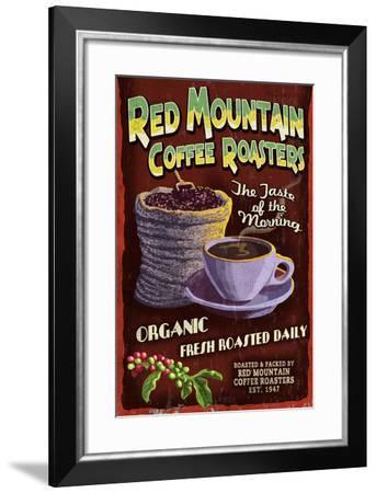 Coffee Roasters - Vintage Sign-Lantern Press-Framed Art Print
