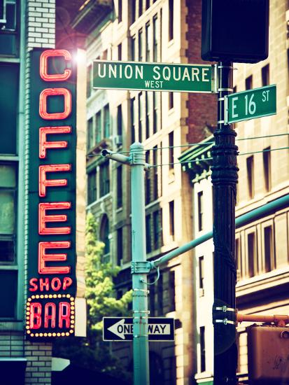 Coffee Shop Bar Sign, Union Square, Manhattan, New York, United States-Philippe Hugonnard-Photographic Print