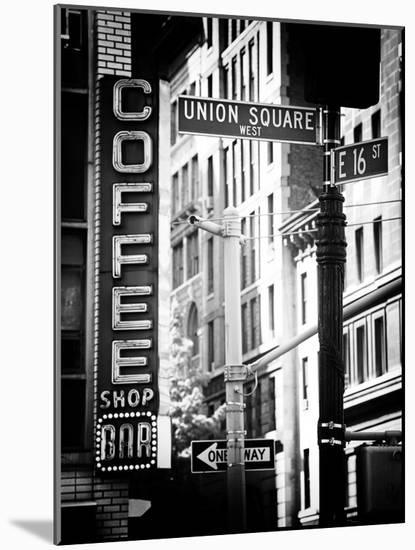 Coffee Shop Bar Sign, Union Square, Manhattan, New York, US, Old Black and White Photography-Philippe Hugonnard-Mounted Photographic Print