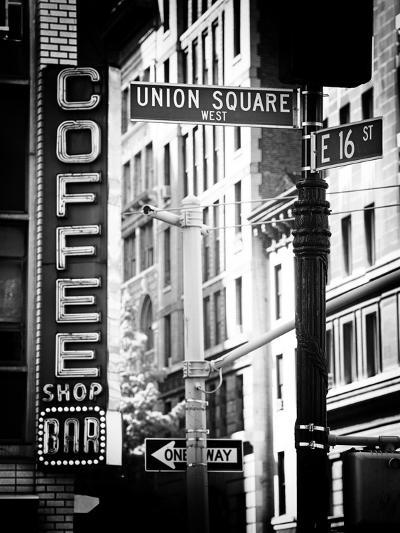 Coffee Shop Bar Sign, Union Square, Manhattan, New York, US, Old Black and White Photography-Philippe Hugonnard-Photographic Print
