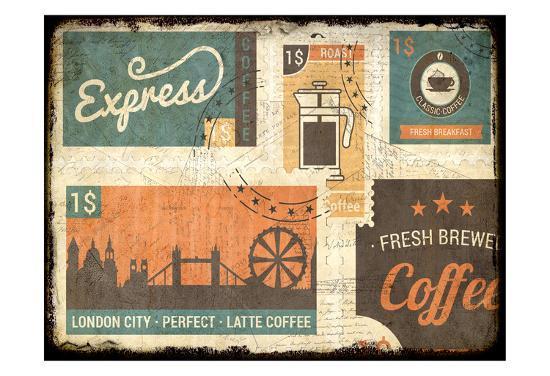 Coffee Stamps 1-Kimberly Allen-Art Print