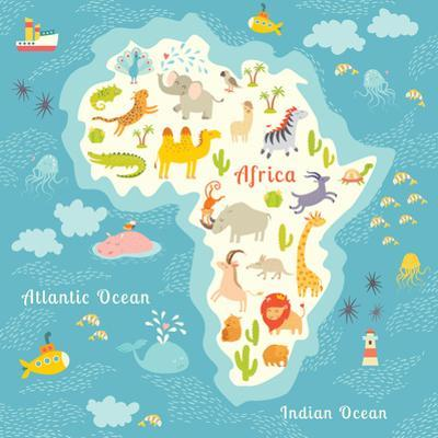 Animals World Map Africa. Beautiful Cheerful Colorful Vector Illustration for Children and Kids. by coffeee_in